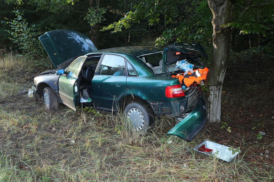 Der nasse Asphalt auf der Radeberger Landstraße wurde zwei Frauen zum Verhängnis. Sie prallten mit ihrem Audi an einen Baum.