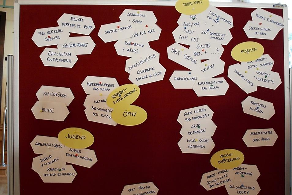 Auf einer Tafel wurden die Leitbild-Ideen nach Themen geordnet.