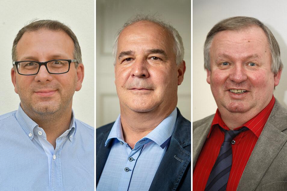 Thomas Beier, Jens Willmuth, Robert Läsker (v.l.n.r.): Einer tritt als Sebnitzer Stadtrat zurück, einer will nicht, einer rückt nach.