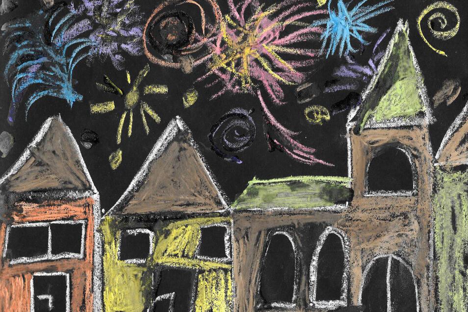 """Das Bild von Sanni Rappich ist mit Zuckerkreide entstanden. Die Achtjährige malte ihre Vorstellungen vom """"Silvesterhimmel in meinen Träumen"""" im Unterricht."""