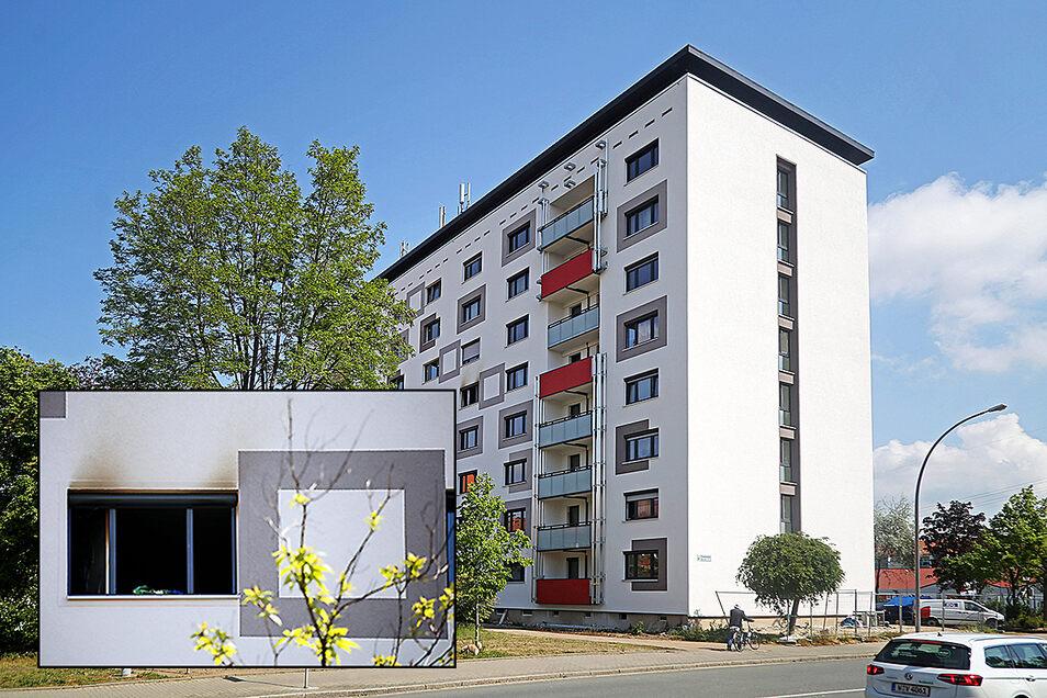 Die schwarzen Verfärbungen an der Fassade des Blockes an der Chemnitzer Straße werden wohl noch einige Zeit zu sehen sein.