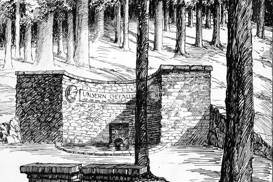 Die Kottmar-Spreequelle mit dem Lusatia-Ehrenmal, gezeichnet von Adolf Schorisch. Vor 100 Jahren, am 4. September 1921, war Einweihung. 35 Jahre zuvor, am 4. September 1886, war die Quelle erstmals gefasst worden.