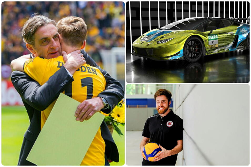 Die Protagonisten des Sportdonnerstags: Ralf Minge  und Justin Eilers, der T3-Lamborghin und Max Filip .