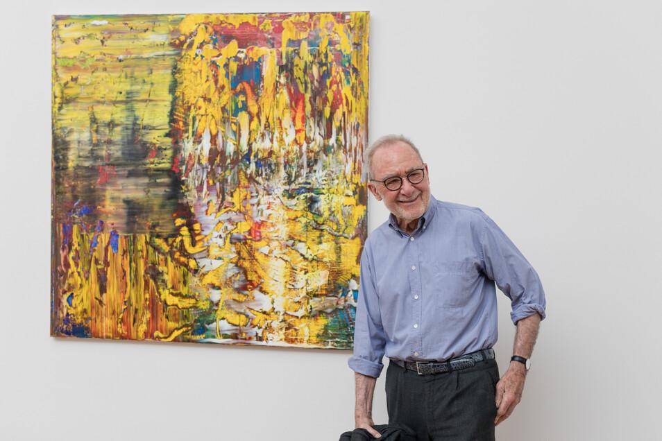 Gerhard Richter hat gut lachen: Hier bei der Eröffnung seiner Ausstellung abstrakter Bilder im Mai 2017 im Dresdner Albertinum.