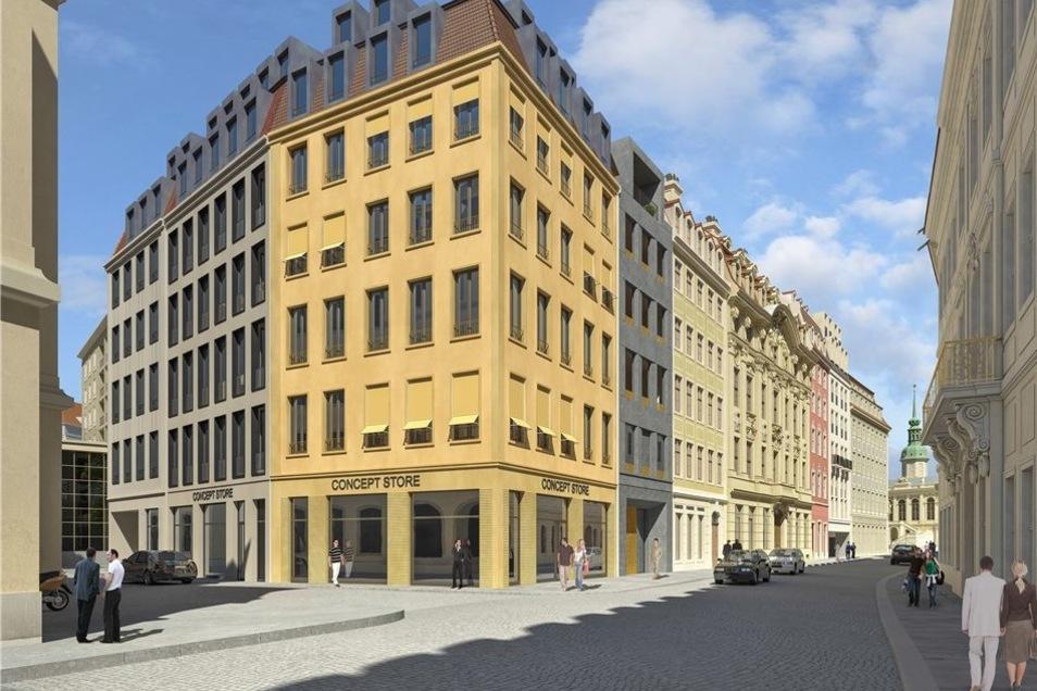 Modern und doch an die Bauten am Neumarkt angepasst. Ein Teil erhält eine historische Fassade.