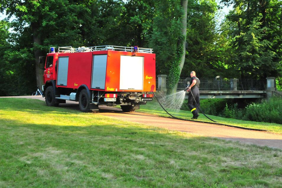 Feuerwehrleute waren am Sonnabend im Stadtpark zur Bewässerung von Bäumen, Sträuchern und Wiesen unterwegs. Bewässert wird derzeit aber vor allem in den Frühstunden durch den städtischen Bauhof.