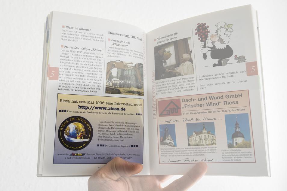 """""""Die Zukunft hat begonnen"""": So wurde die damals neue Domain www.riesa.de Mitte der 1990er Jahre im Riesaer Jahrbuch beworben."""