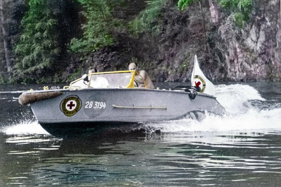 """Historisches: Die """"Zschopau"""" war das erste Rettungsboot nach der Wende in Höfchen."""
