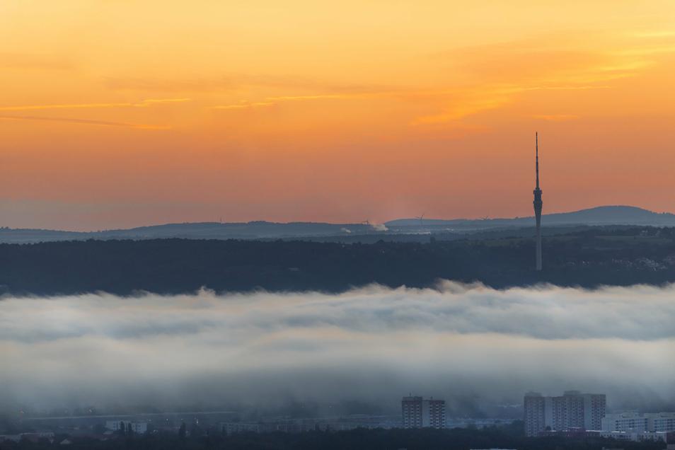 Weithin sichtbar ist der Fernsehturm am Elbhang. Seine Zukunft ist ungewiss.