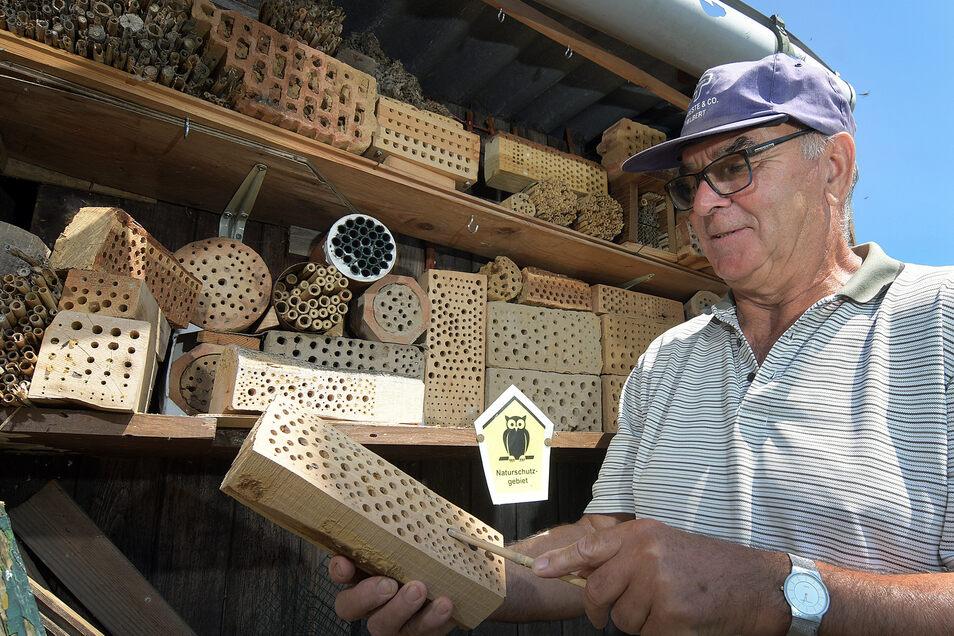 """Bernd Trommer steht an einem seiner """"Insektenhotels"""". Vor allem Wildbienen und Wespenarten nisten sich in den Bruthöhlen gern ein. Trommer hat viel ausprobiert. Manche Materialien werden von den Insekten angenommen, andere gänzlich verschmäht."""