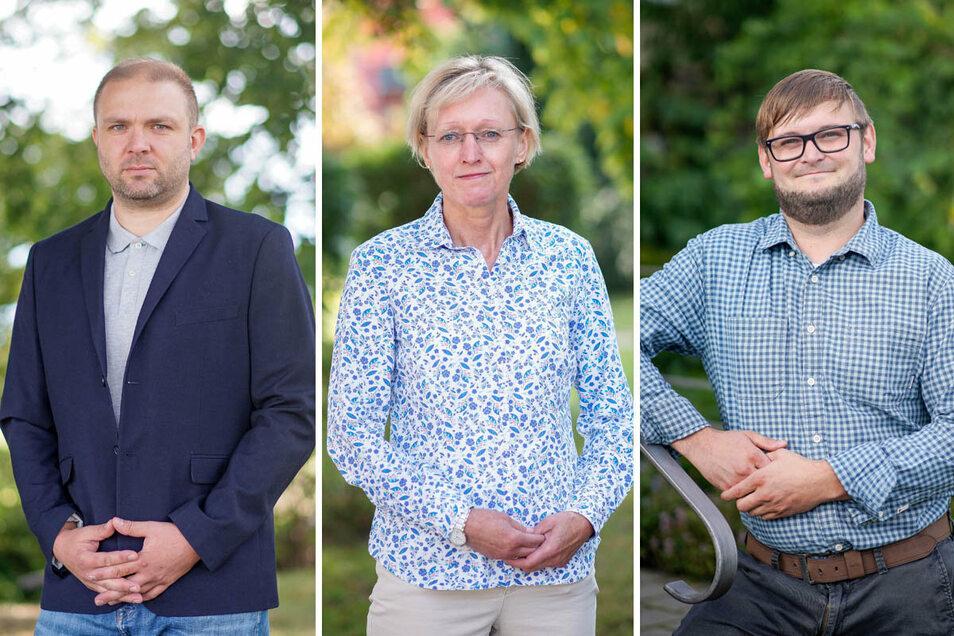 Steinigtwolmsdorf wählt einen neuen Bürgermeister. Alexander Zapke, Kathrin Gessel und David Wolf (von links) kandidieren für das Amt.