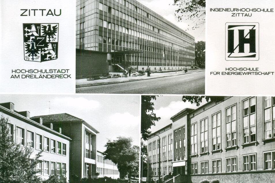 """Diese Ansichtskarte von 1976 warb für Zittau als """"Hochschulstadt am Dreiländereck"""". Oben in der Mitte ist das inzwischen abgerissene Haus III zu sehen, unten links das Haus I, unten rechts das Haus II."""