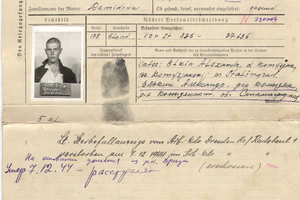 Der russische Zwangsarbeiter Jewgenij Jelkin auf der Flucht erschossen.
