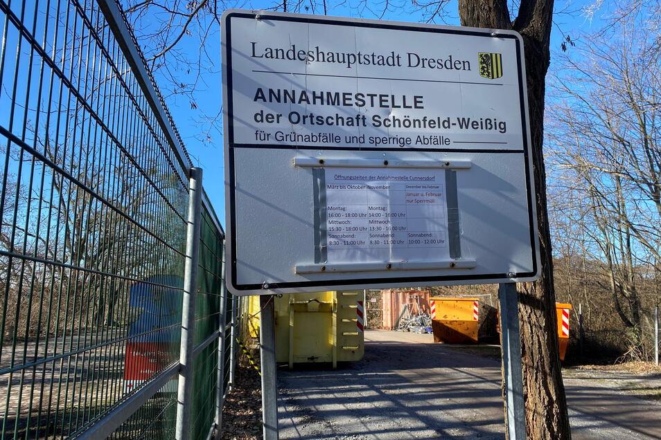 Die Grünschnitt-Annahmestelle im Schönfelder Hochland.