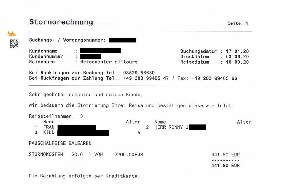 Die Rechnung über die 441 Euro Stornokosten.