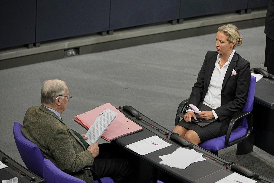 Alice Weidel und Alexander Gauland, Fraktionsvorsitzende der AfD, nehmen an der konstituierenden Sitzung des neuen Bundestags teil. Und zwar im Plenarsaal unter Einhaltung der 3G-Regel.