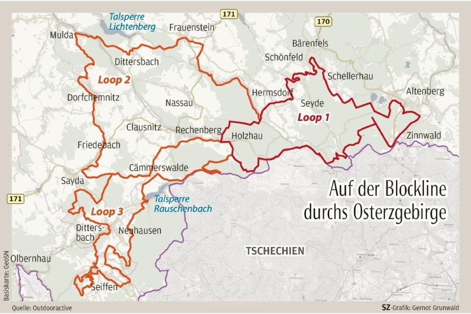 Die Blockline ist 140 Kilometer lang. Man kann sie in drei einzelne Rundkurse, die Loops, zerlegen.