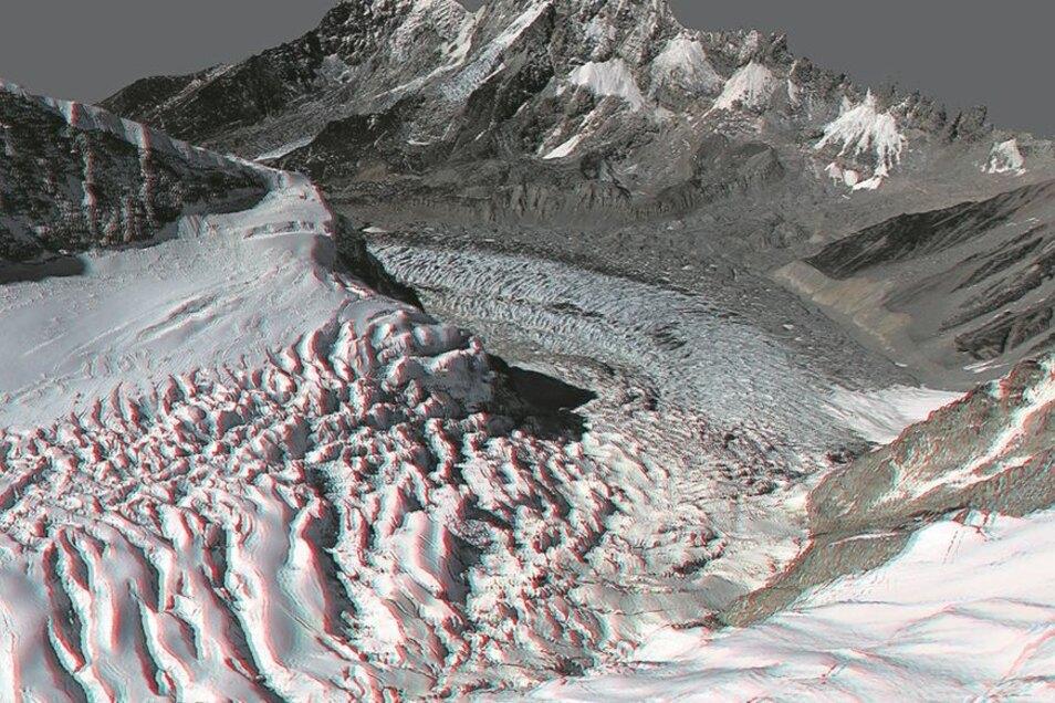 Der Khumbu-Gletscher am Everest-Basislager. Das Motiv entstand bei Analysen von Luftströmungen an Gebirgskämmen. Das Kamerasystem transportierte ein Motorsegler, der von Strausberg nach Nepal überführt worden war. Das 3D-Modell hilft auch bei Rettungsflüg