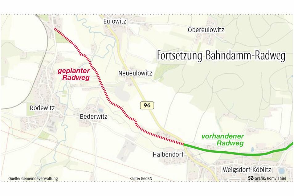 Derzeit endet der Bahnradweg aus Löbau kommend in Halbendorf. Den Lückenschluss bis nach Großpostwitz will die Gemeinde jetzt angehen. Dort würde die Fahrradstrecke auf den Spreeradweg treffen.