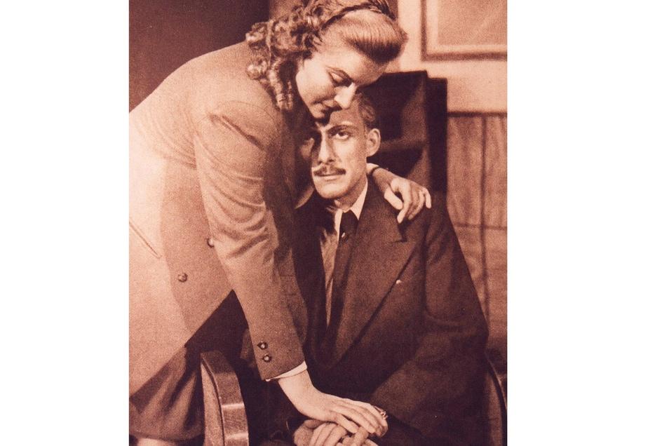 """Marion van de Kamp, später bekannt von Film und Fernsehen, spielte mit Horst Richter 1947 in """"Die russische Frage""""."""
