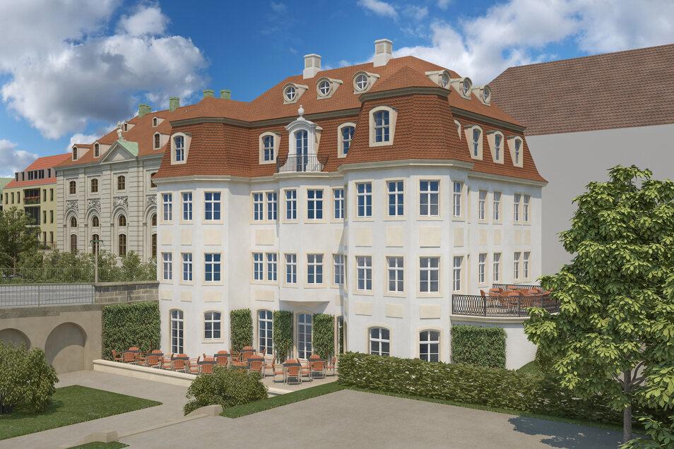 So stellt sich der Dresdner Architekt Matthias Trux das rekonstruierte Narrenhäusel vor. Er orientiert sich am barocken Palais.