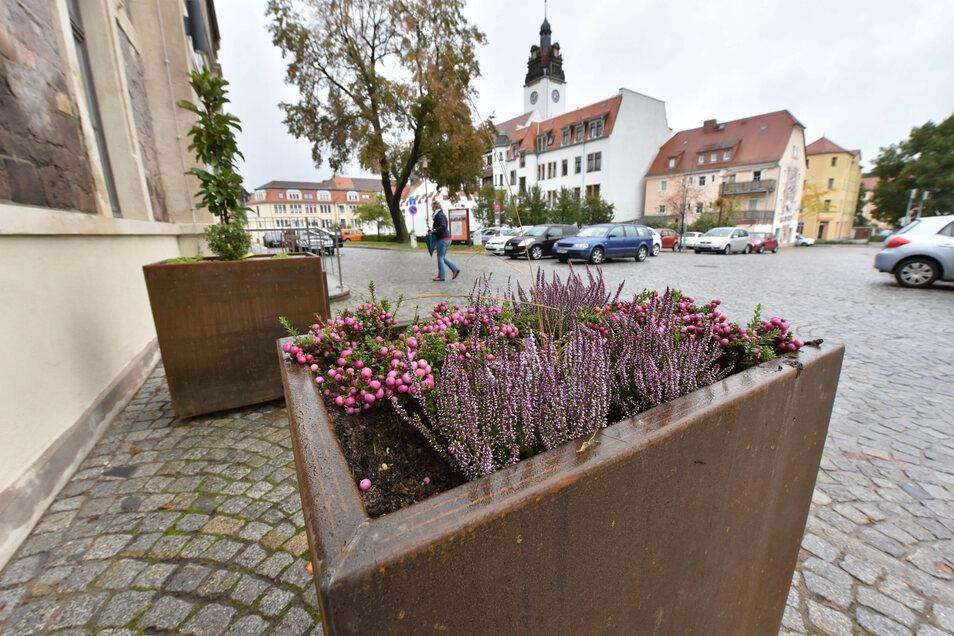 Vor dem Bahnhof Potschappel wurden die ersten Pflanzkübel aufgestellt.