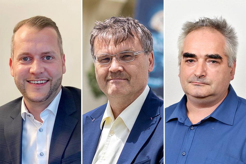 Glashütter Bürgermeisterkandidaten Gleißberg, Barthel, Bretschneider (v.l.). Einer hat bereits seinen Rückzug angekündigt, steht aber weiter auf dem Wahlzettel.
