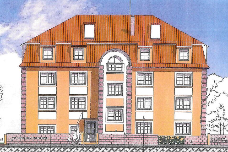Das neue Wohnhaus in der Wilder-Mann-Straße 44 soll historische Elemente der alten Fassade wie den Rundbogen aufnehmen. Auch die Mauer davor wird wieder aufgebaut.