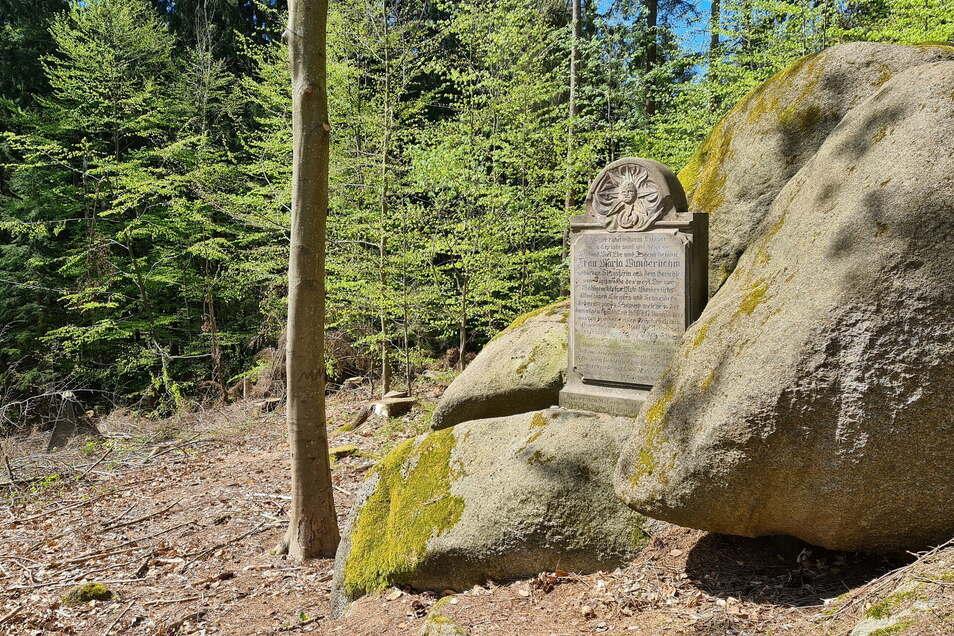 Der Peststein im Gemeindehain Sebnitz. Er ist oberhalb vom Waldstadion gut erhalten zu finden.