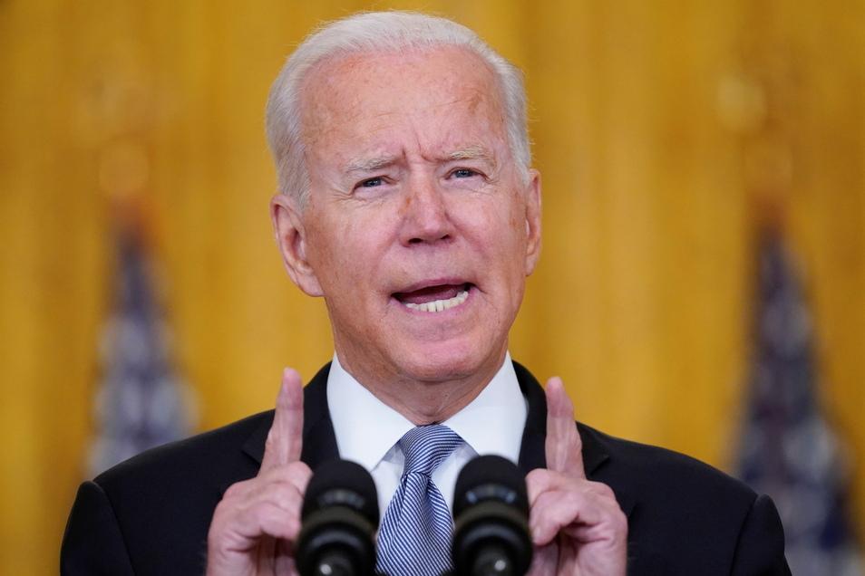 Joe Biden, Präsident der USA, spricht im Ostzimmer des Weißen Hauses über die Situation in Afghanistan. Biden ist es nicht gelungen, die Katastrophe in Afghanistan abzuwenden.