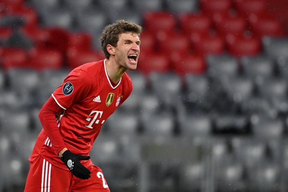 Thomas Müller muss mit dem FC Bayern in der Champions League gegen Paris St. Germain ran.