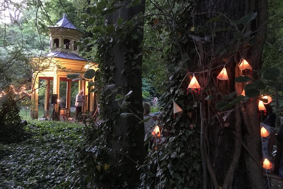 Musiker Heinz Lindner spielte unterm Pavillon im wunderbar illuminierten Park Jahnishausen sphärische Klänge.