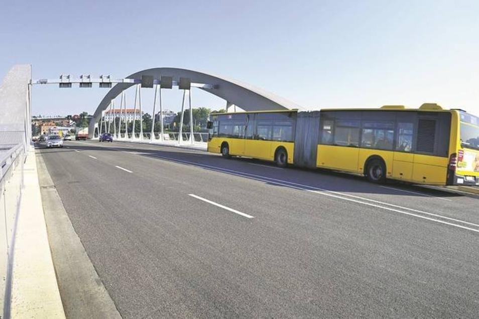 Wie viele Autos rollen künftig über die Waldschlößchenbrücke? Bislang sind es deutlich weniger als gedacht.Fotos: Marco Klinger, Steffen Füssel, dpa