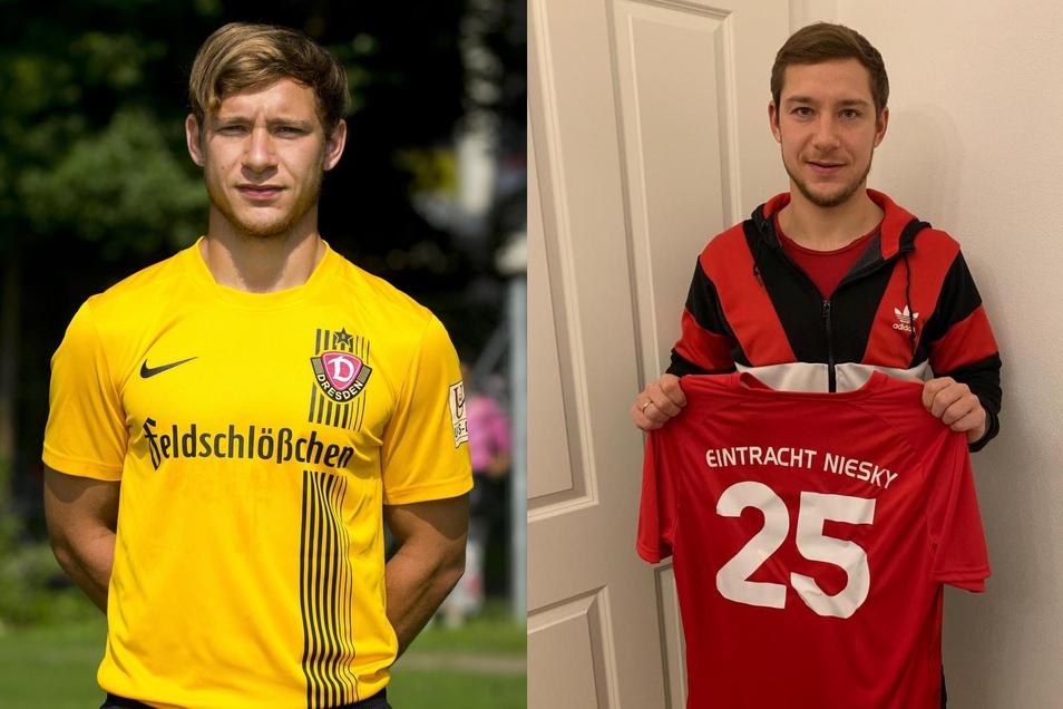 Zwischen den Bildern liegen gerade mal fünf Jahre: Robert Koch spielte 2014 noch bei Dynamo Dresden. Nun präsentiert ersein Trikot beim FV Eintracht Niesky.