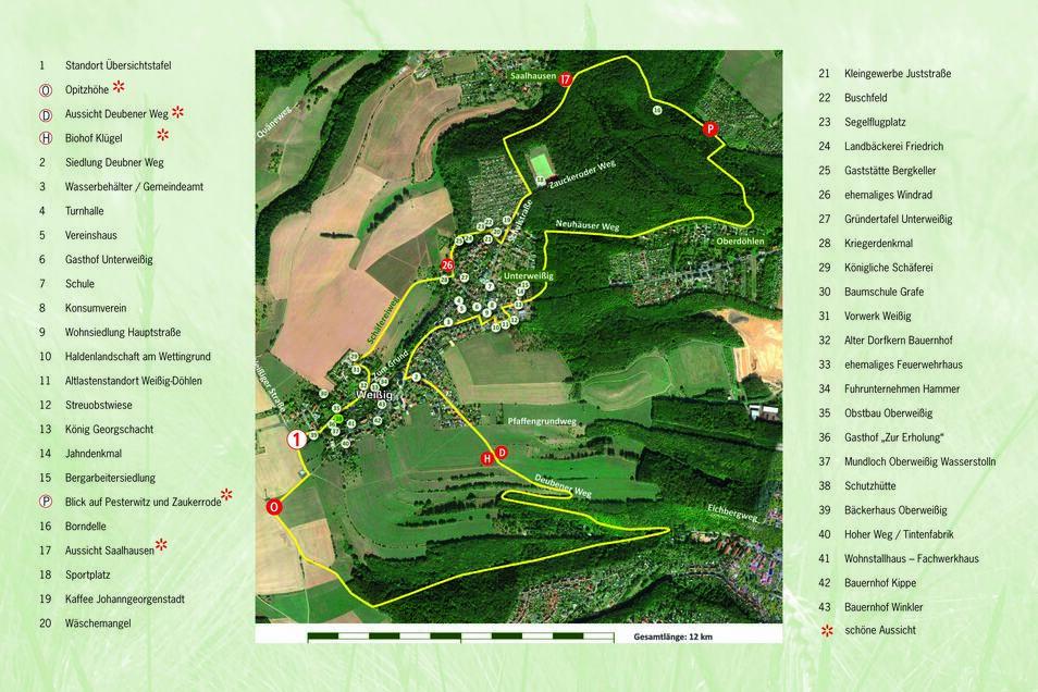 """Die Übersichtskarte zum """"Klitscherweg"""" rund um Freital-Weißig zeigt und erklärt alle wichtigen Punkte entlang der Strecke."""