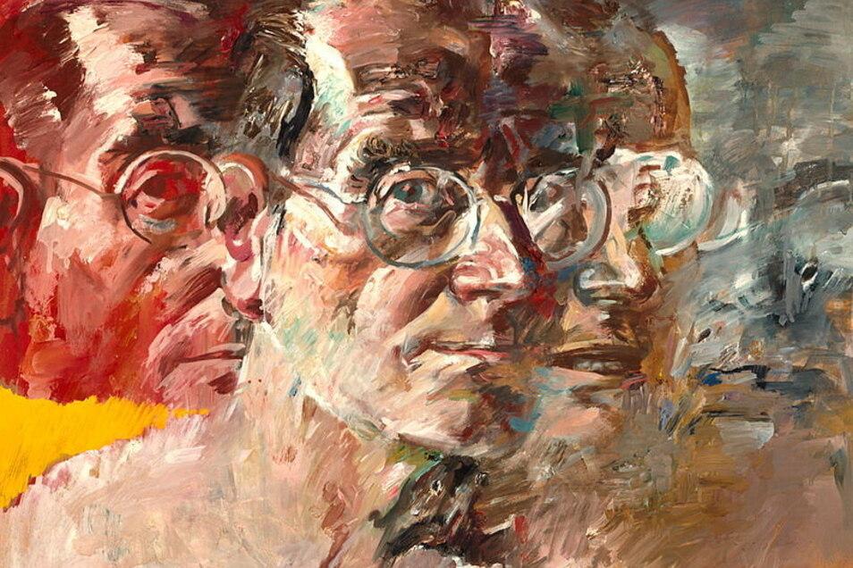 Selbstporträt von Willi Sitte aus dem Jahr 1980, da war er auf dem Höhepunkt seiner Macht als Kulturfunktionär. (Ausschnitt)