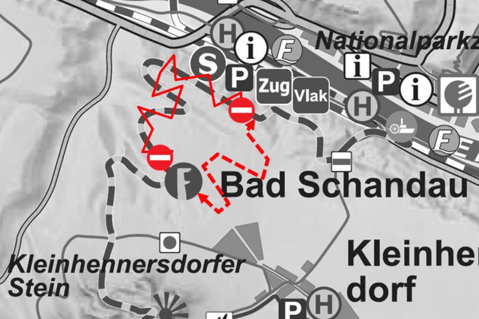 Wanderer werden am Forststeig nahe Bad Schandau umgeleitet.