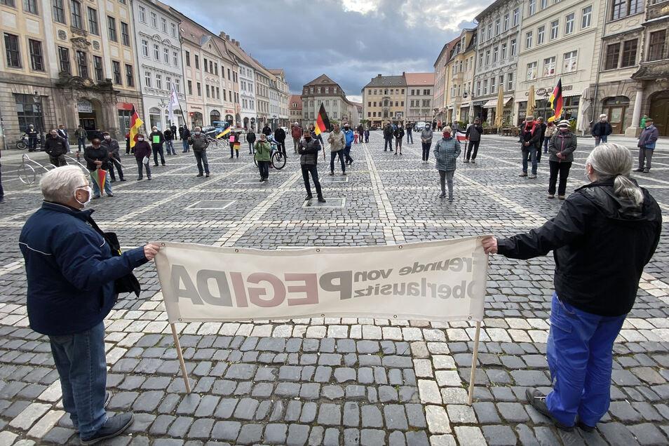Mit Pegida-Fahne und Deutschland-Flaggen haben knapp 50 Teilnehmer auf dem Zittauer Markt demonstriert.